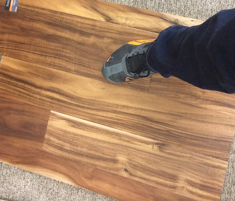 Flooring with a shoe